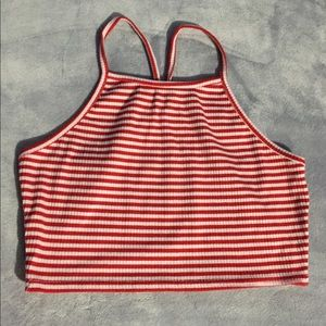 Red and White Striped Crop Top